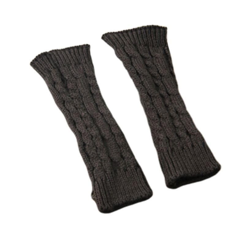 Women Winter Knitted Arm Sleeve Weaved Braid Solid Arm Warmer New