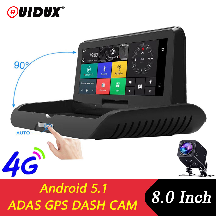 QUIDUX 8 inch IPS 4G Car DVR Camera GPS Android FHD 1080P ADAS Dash cam Dual Lens car video Recorder Night Vision Remote monitor image