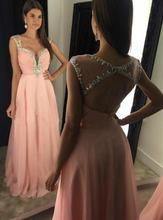 Женское шифоновое платье трапеция с v образным вырезом длинное