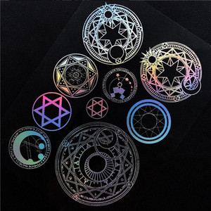 Large Magic Circle Holo Clear Film Sheet UV Resin Inclusion Holographic Resin Inclusions Magical Girl Embellishments Jewelry DIY