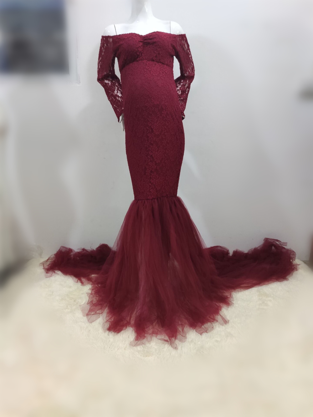 Elegence Maternity Photography Props Dresses Lace Mesh Long Pregnancy Dress For Pregnant Women Maxi Maternity Gown Photo Shoots (4)