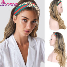 Wig AOSOO Synthetic-Wig Wavy High-Temperature Women Without for Middle-Aged Glue Turban