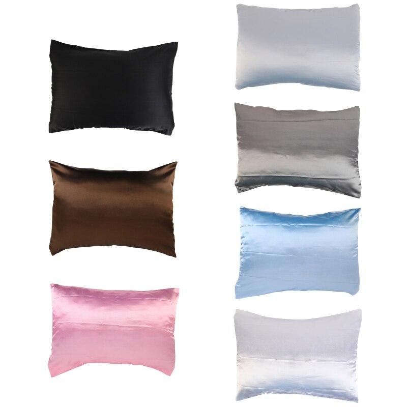 Pure Silk Emulation Satin Pillowcase Comfortable Pillow Case Pillowcase For Bed Throw Single Pillowcases