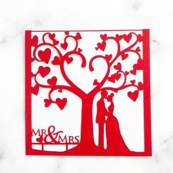35pcs/lot Chinese Red Wedding Invitation Cards Sweet Bride And Groom Valentine's Day Engagements Wedding Invitation Cards