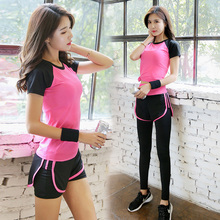 Sportswear Yoga Fitness Set Clothing Womens Running Shoes Shirt + Pants Tights Jogging Exercise Sports
