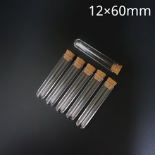 100pcs/lot 12x60mm Transparent Plastic Round Bottom Test Tube With Cork Stoppers Empty Scented tea Tubes