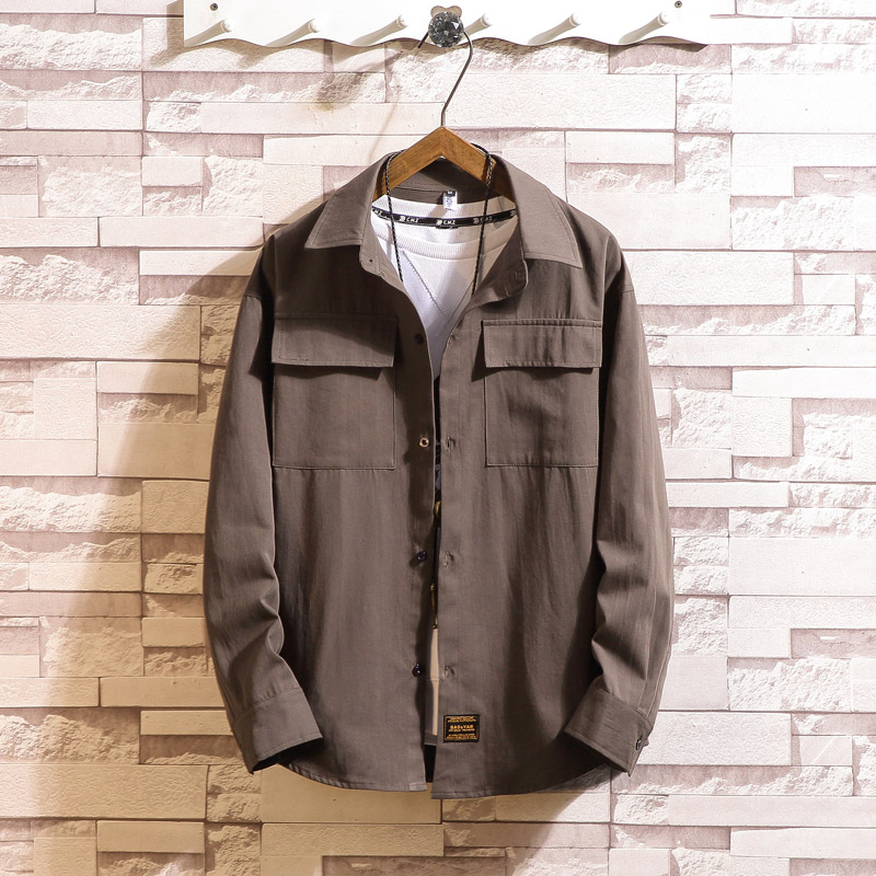 Janpanese Style Loose Long Sleeves Cargo Bigger Pocket Casual Men'S ShirtS 2020 For Summer Clothes