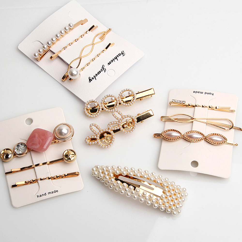 1 Set Fashion Pearl Imitation Hair Clip For Women Girls Barrette Handmade Pearl Flower Stick Hairpin Hair Styling Accessories