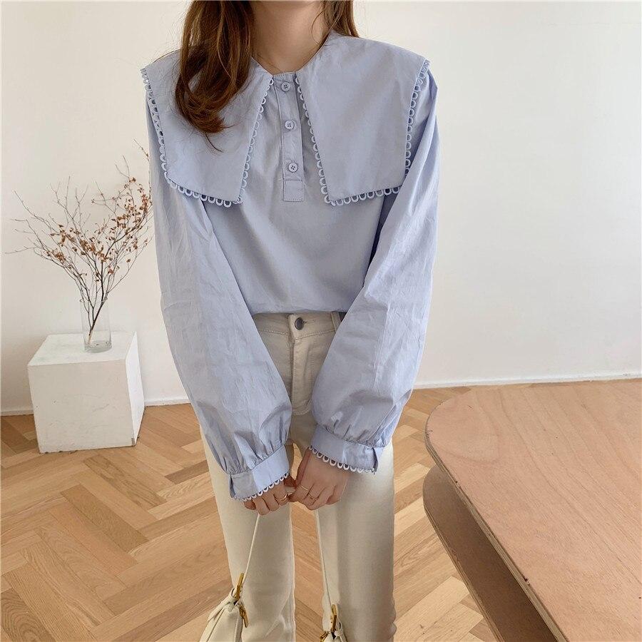 Ha079468c568f476898e03025979d038fG - Spring / Autumn Puritan collar Long Sleeves Solid Blouse