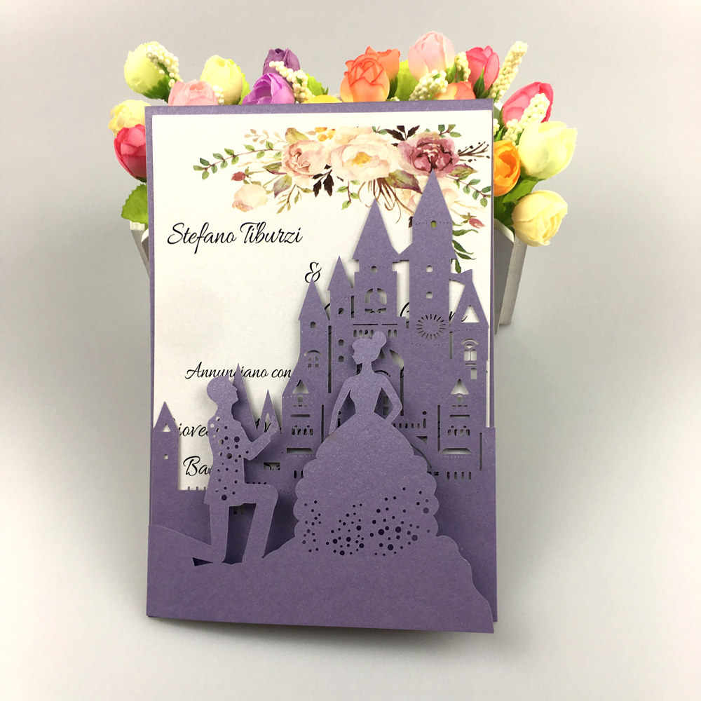 free shipping 2pcs castle tri fold wedding invitation cards with envelope , insert, RSVP 3 fold laser cut pocket fold cards| | - AliExpress