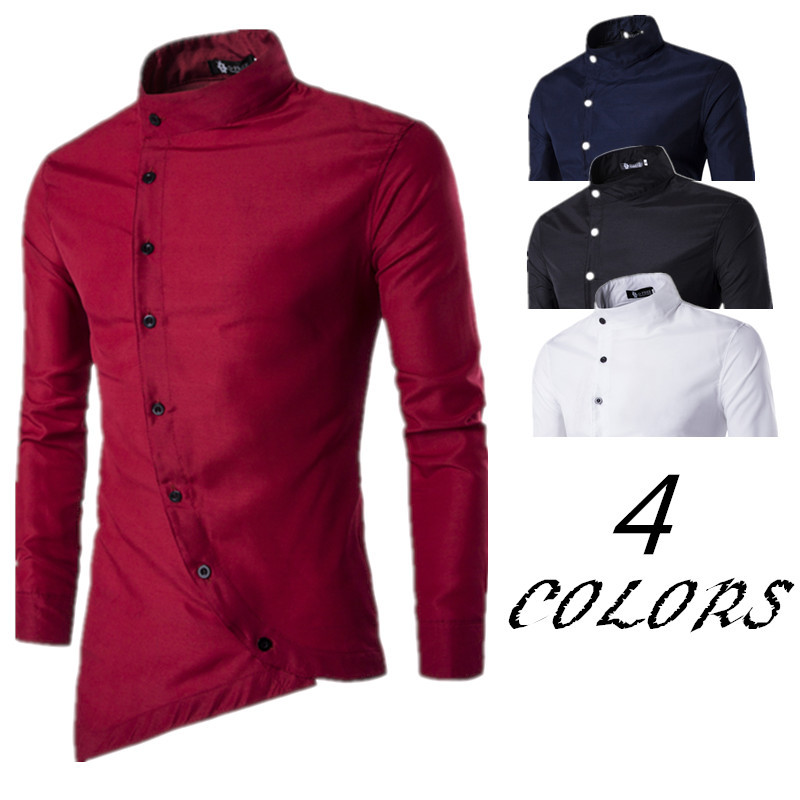 2020 Spring Summer New Men's Slant Placket Long Sleeve Slim Fit Shirt Blusa Masculina Clothing Red Dress Chemise Longue
