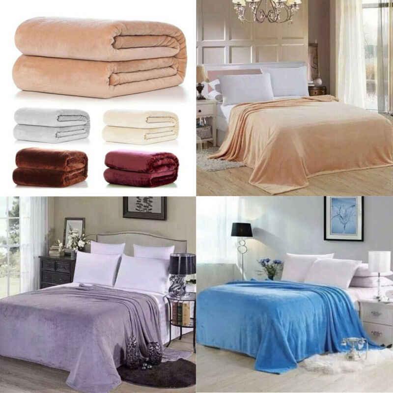 Novo super macio quente sólido micro pelúcia velo cobertor lance sofá cama cobertores 50x70cm