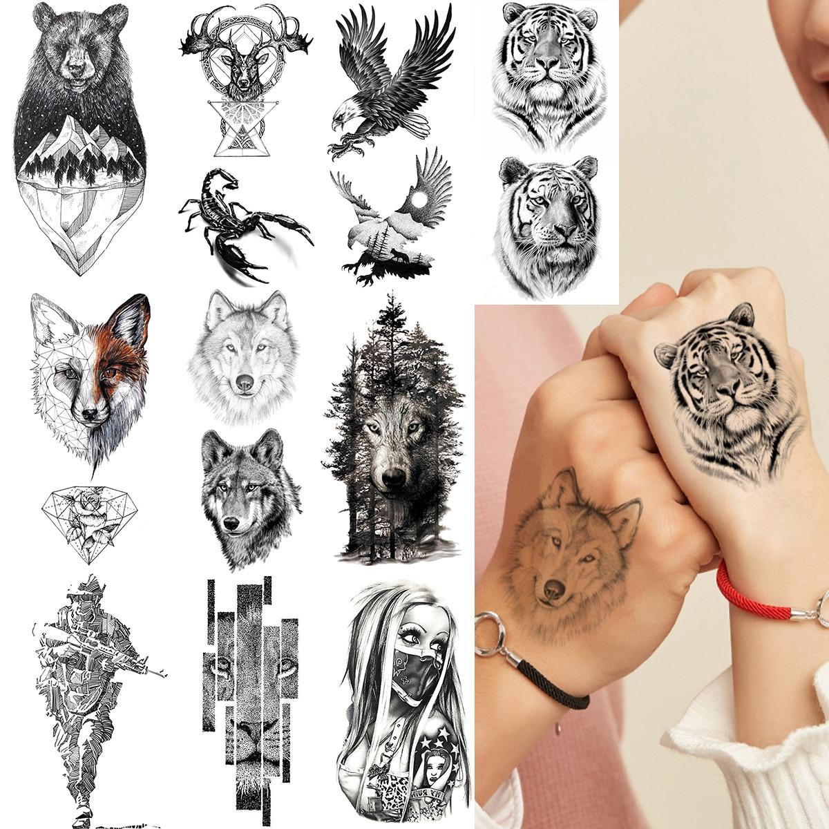 Fiercely Tiger Eagle Temporary Tattoos For Men Women Arm Hand Fake Tattoo Sticker Tigerish King Of Beast Body Art Tatoos Makeup