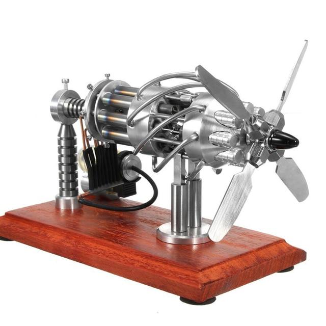 Super Quality 1 Pcs 16 Cylinder Swash Plate Butane Powered Quartz Glass Hot Cylinder Stirling Engine Model