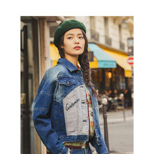 INMAN 2020 Musim Gugur Baru Fashion Retro Perca Gaya Jeans Wanita Jaket Mantel(China)