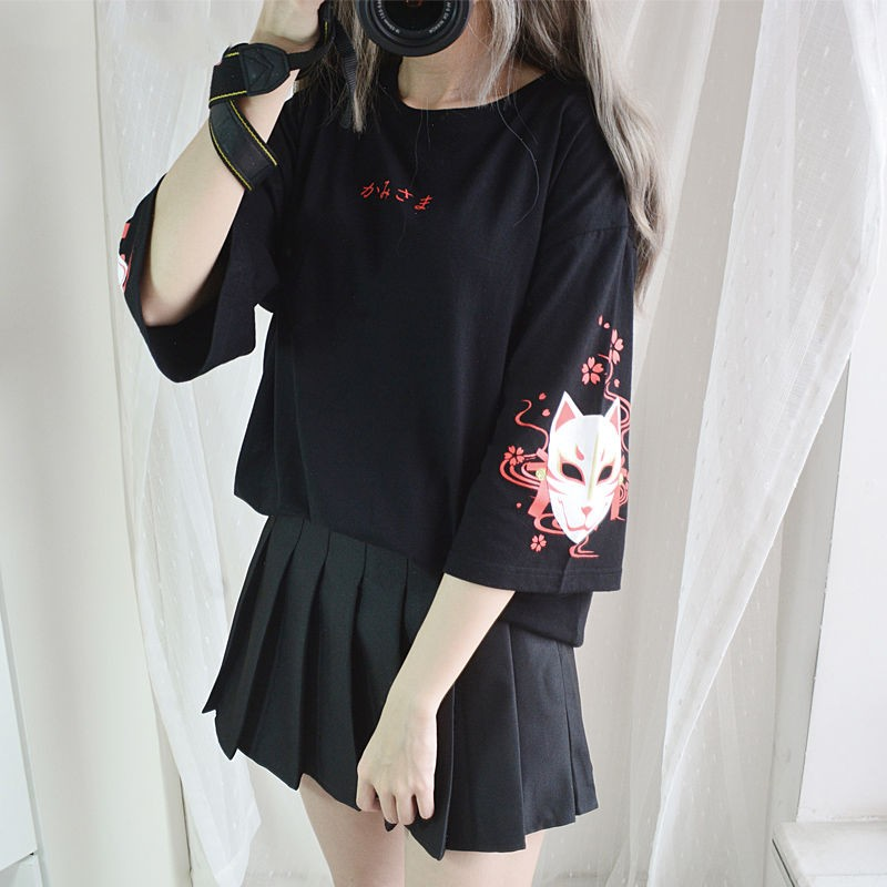 2020 Fashion Summer T Shirt Women's Clothing Anime Fox Printed Cross Ribbon T-shirt Women Black Harajuku Tops