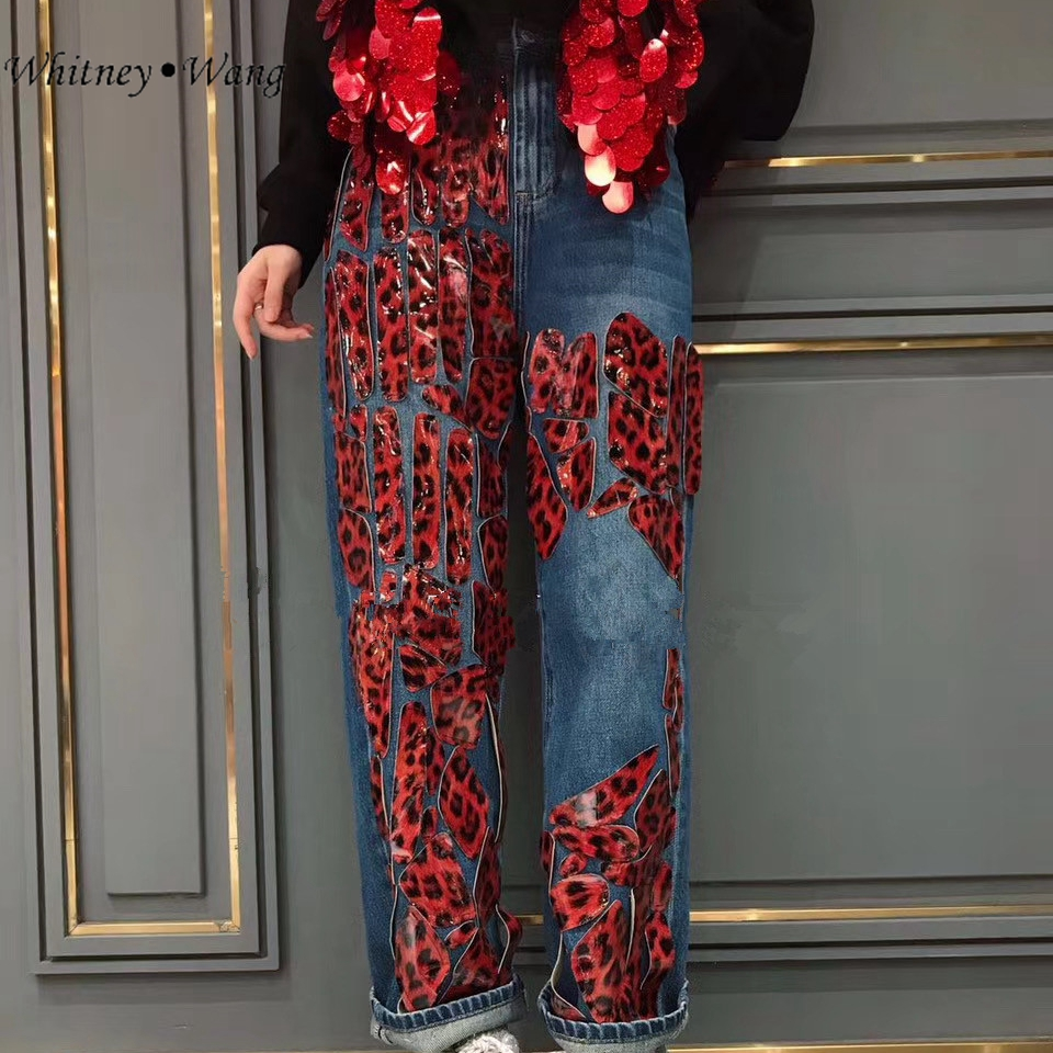 Patchwork Jeans Denim Pants WHITNEY Streetwear Winter Plus-Size Fashion Women Stylish