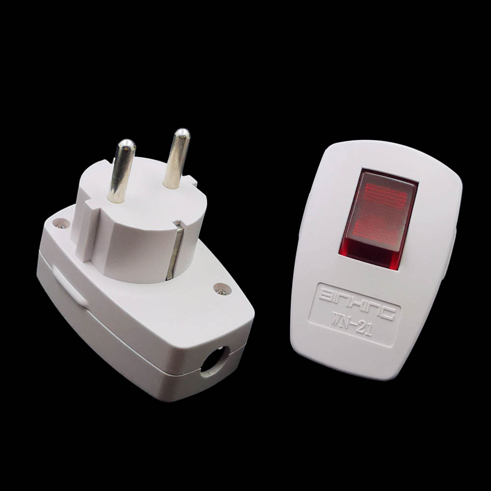 Germany Schuko Rewireable Power Plug Wih On-off  Power Swtich 250V 10A EU CEE 7/7 Standard Adapter Receptacle Connector