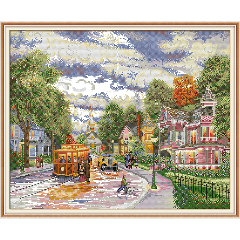 Joy Sunday Town evening Chinese cross stitch kits Ecological cotton clear printed 14CT 11CT DIY gift wedding decoration for home image