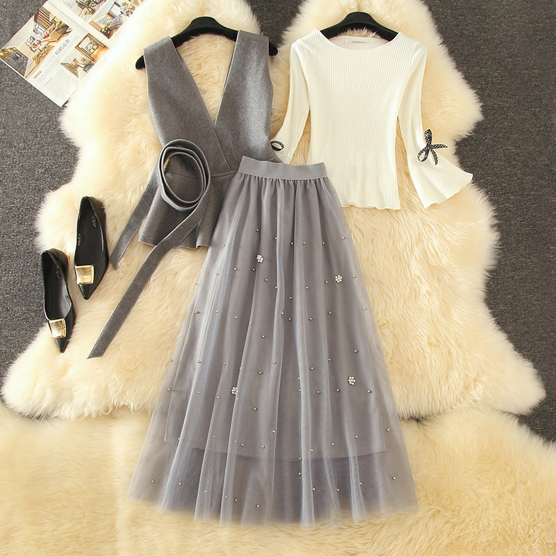 2020 Autumn New 3 Piece Set Women Flare Long Sleeve Bow Tie Pullover Sweater + Wool Ruffle Vest + Long Pearl Beading Mesh Skirts