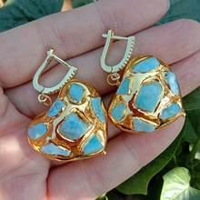 Y · YING, натуральные синие Ларимар, в форме сердца, желтое золото, висячие серьги с покрытием рычаг