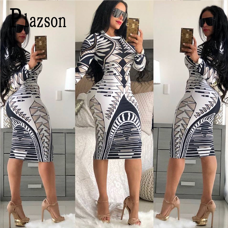 Summer Print Novelty Bandage Bodycon Dress Women Long Sleeve Knee Length Casual Dress Elegant Slim Midi Party Dresses Vestidos