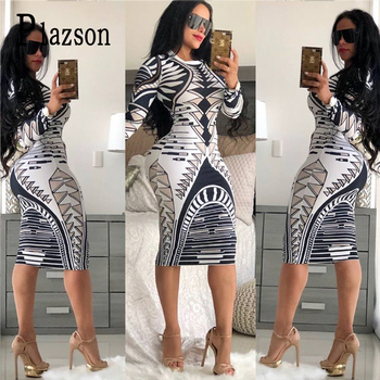 Summer Print Novelty Bandage Bodycon Dress Women Long Sleeve Knee-length Casual Dress Elegant Slim Midi Party Dresses vestidos 2019 plus size party dresses women summer long maxi dress casual slim elegant dress bodycon female beach dresses for women 3xl