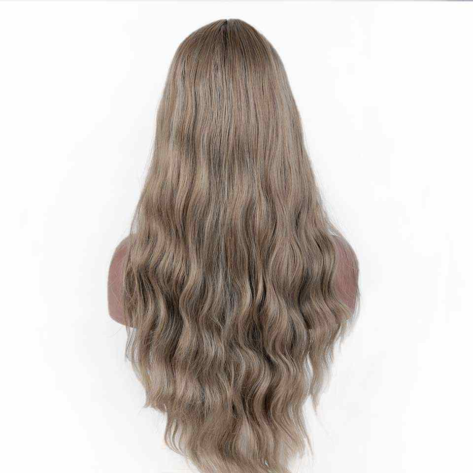 """AOSI 26"""" Long Wavy Black Wigs Black Brown Mix Purple Water Wave Synthetic Wig for Women Natural Middle Part Heat Resistant Hair"""