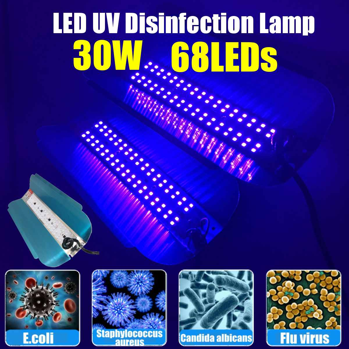 30W UV C-u-ing Lamp UV Disinfection Lamp Violet Wavelength Fluorescent Agent Detection UV Lamp Ozone Disinfection