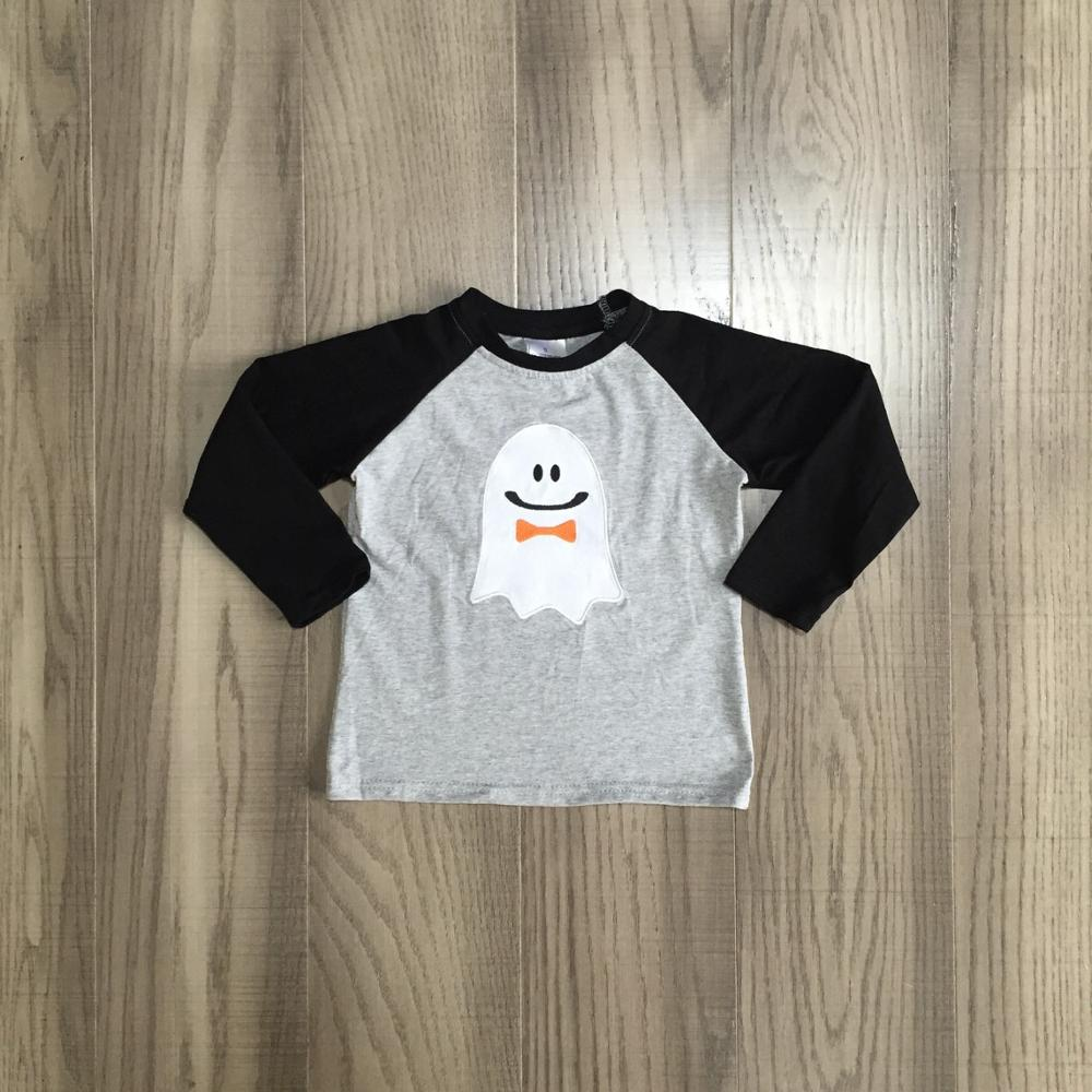 Girlymax fall Halloween baby girls boys boutique t-shirts clothes skull ghost bow grey cotton top children raglans long sleeve 3