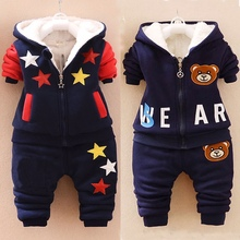 Baby Boys/girls Winter Hoodies Clothing Sets Kids Thick Warm Velvet Clothes Sets Sport