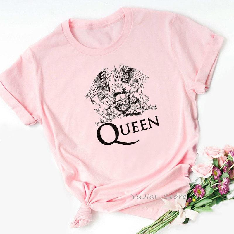 Женская футболка в стиле рок-королевы, Винтажная Футболка с принтом Фредди Меркурия, эстетическая одежда, летний топ, женские розовые Графи...