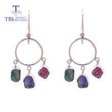 Hook handmade earring with natural emerald ruby tanzanite mix gemstone earring 925 sterling silver fine jewelry for women tbj tbj natural ruby gemstone simple