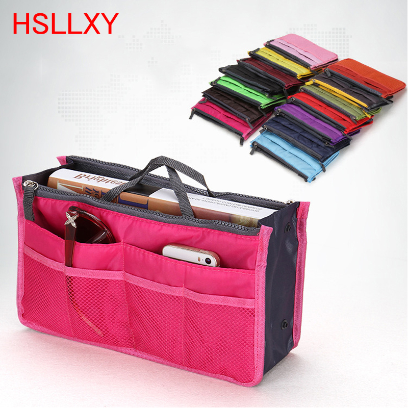 HSLLXY Travel Insert Bag Women Make Up Organizer Bag Toiletry Travel Kits Storage Finishing Bag Double Zippe Color Cosmetic Bag