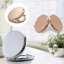 Moda espelho de maquiagem metal rosa ouro em forma redonda espelho dupla face compacto dobrável espelhos portátil bolso maquiagem ferramenta
