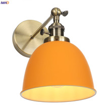 IWHD Nordic Style LED Wall Light Switch Bedroom Bar Mirror Stair Wandlamp Orange Modern Wall Lamp Sconce Aplique Luz Pared iwhd golden led wall light bathroom bedroom glass ball wall lamp modern sconce led stair lights lamparas de pared