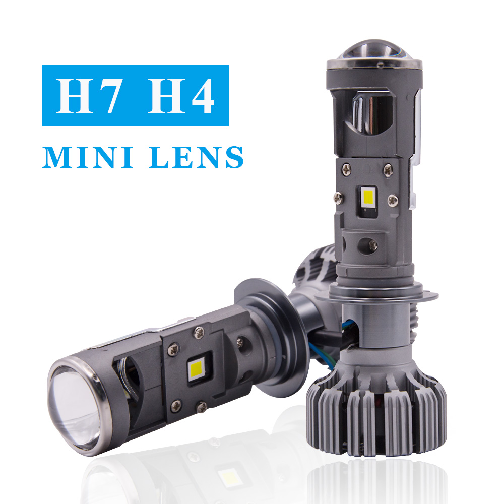 H7 H4 mini Projector Lens For Automobile Motorcycle High Low Beam LED Conversion Kit Lamp Cut line Headlight 12V/24V 5500K image