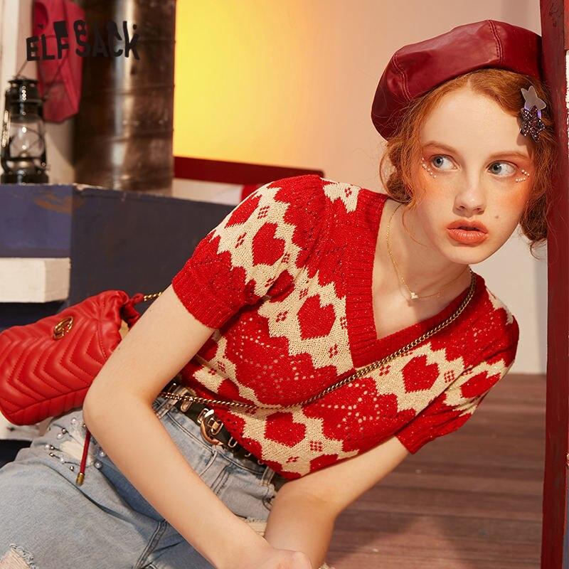 ELFSACK Red Jacquard Hollow Cut Knit Casual Pullover Sweaters Women 2020 ELF Summer Short Sleeve Ladies Korean Daily Slim Top