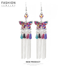 Hello Miss Fashion Crystal Butterfly Chain Tassel Earrings Bohemian Style Vintage Pendant Earrings New Women's Earrings Jewelry glogs miss butterfly glogs
