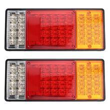 New2pcs 44led lâmpadas quadro plástico cauda parar luz luzes de freio para reboque do caminhão