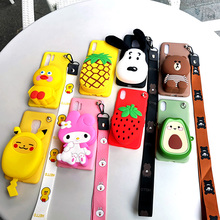 Cute Cartoon 3D Zipper Wallet Soft Silicone Phone Case For iPhone X XR XS Max 8 7 Plus 6 6S TPU Back Cover Coque