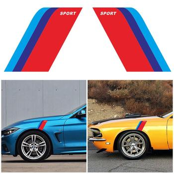Universal Car Styling Auto Hood Roof Fender M-Colored Power Sport Stripe Car Body Decals Vinyl Waterproof Self Adhesive Stickers image