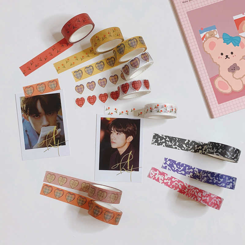 Ins Hot Liefde Tulp Washi Tape Japan Handbook Diy Decoratieve Masking Tapes Afdichting Stickers Kawaii Cartoon Student Briefpapier