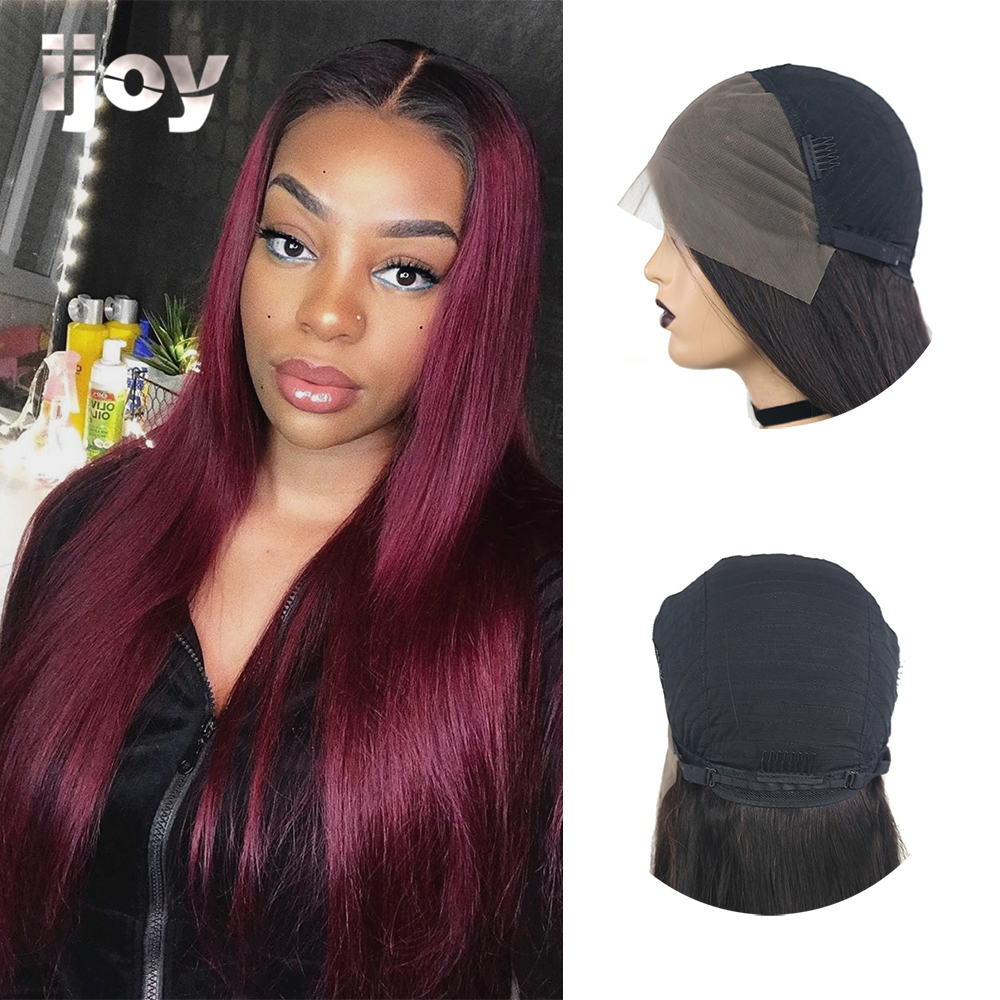 Straight Red Lace Wig Ombre T1B 99J With Baby Hair 4x13 Lace Front Non-Remy Brazilian Human Hair Wig Colored Wig 10