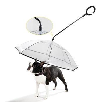 Aapet 1 Pza Umberlla transparente para perros y gatos con cables para perros equipo de lluvia portátil para mascotas PVC impermeable para perros con cuerda de tracción