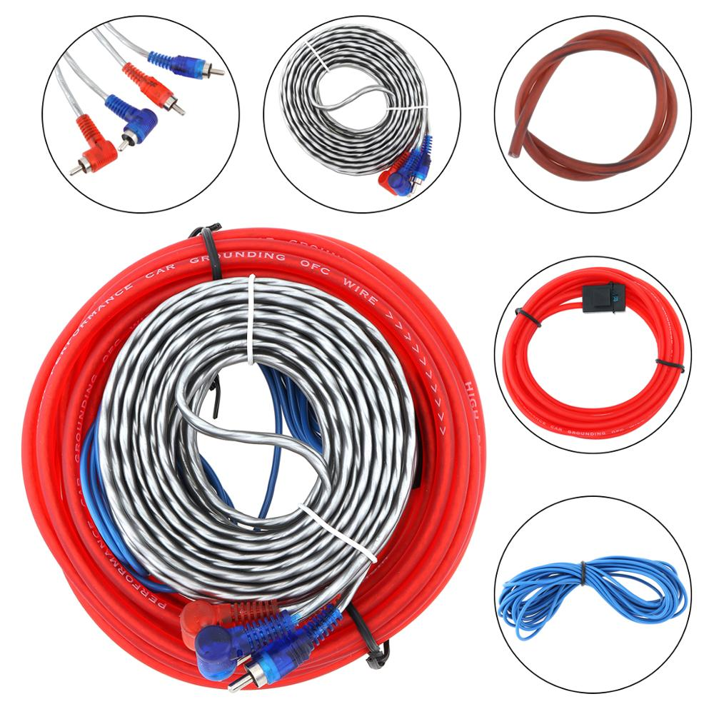 1 Set Car Audio Wire Wiring Kit Car Speaker Cable Auto Power Amplifier Woofer Audio Line Power Line For Car Modification