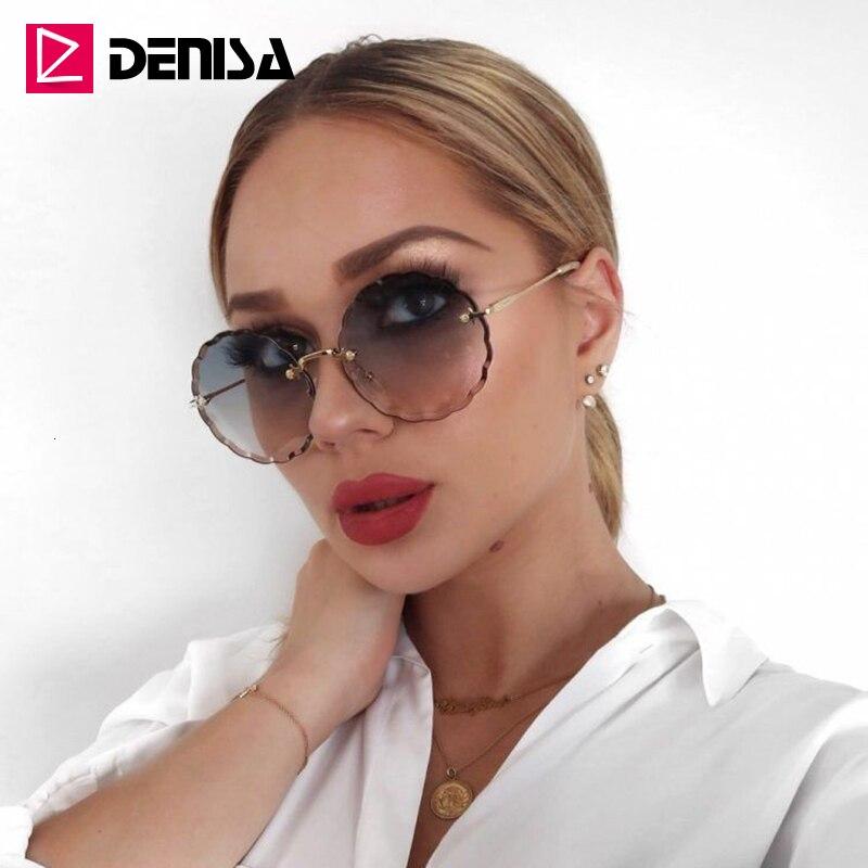 DENISA marque unisexe Vintage rond lunettes de soleil femmes 2019 rétro lunettes hommes sans monture lunettes de soleil femmes UV400 zonnebril dames G31199