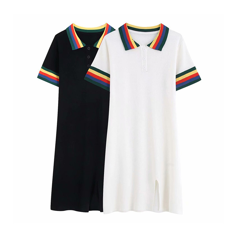 French Non-mainstream Retro Polo Collar Mixed Colors Short Sleeve Jersey Dress Summer WOMEN'S Dress New Products Slimming Skirt
