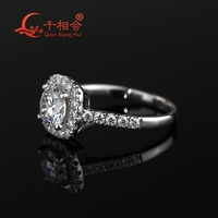 1ct  6.5mm round Brilliant Cut  cushion shape Moissanite Ring Engagement Wedding Gifts Ring Band For Women 2