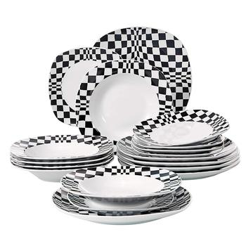 VEWEET LOUISE 18-Piece Ivory White Porcelain Ceramic Black Mosaics Dinner Set of 6*Dinner Plate,Dessert Plate,Soup Plate Set